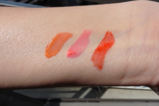 05 Laneige Water Drop Tints Swatches Peach Coral Neon Pink Scarlet Red Sunlight