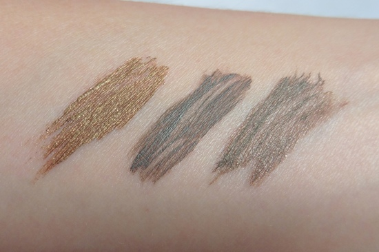 03 Swatches Anastasia Brunette elf Light Sonia Kashuk Tinted Brow Gels