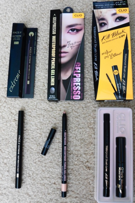 06 The Face Shop FaceIt Extreme Dot Pen Eyeliner EX Clio Gelspresso Bloody Sweet Clio Kill Black Waterproof Brush Liner Mascara Duo