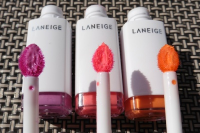 03 Laneige Water Drop Tint Orchid Violet Neon Pink Peach Coral Comparison