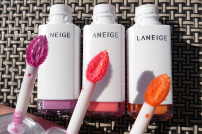 04 Laneige Water Drop Tint Orchid Violet Neon Pink Peach Coral Comparison
