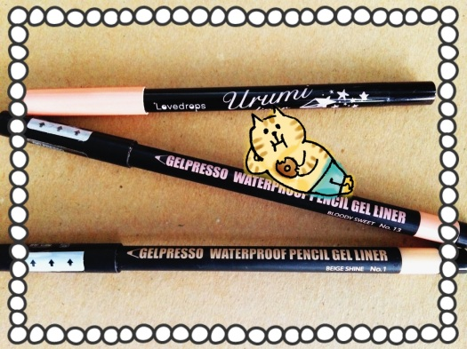 01 Lovedrops Urumi Liner 02 Coral Pink CLIO Gelpresso Waterproof Pencil Gel Liner 13 Bloody Sweet 1 Beige Shine Review