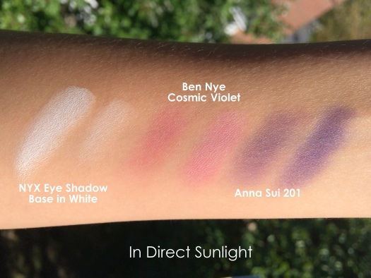 03 Ben Nye LU-17 Cosmic Violet Anna Sui Eyeshadow 201 NYX White Eye Shadow Base Swatches
