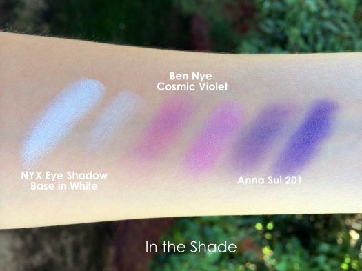04 Ben Nye LU-17 Cosmic Violet Anna Sui Eyeshadow 201 NYX White Eye Shadow Base Swatches
