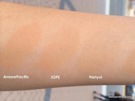 09 AmorePacific 104 Tan Blush IOPE C23 Hanyul 2 Beige Comparison Review