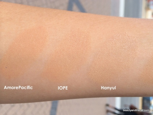 09 AmorePacific 104 Tan Blush IOPE C23 Hanyul 2 Beige Comparison Review