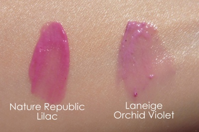 06 Nature Republic By Flower Triple Volume Tint 03 Lilac Laneige Water Drop Tint Orchid Violet Comparison Swatches