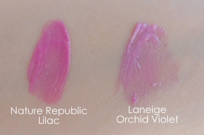 07 Nature Republic By Flower Triple Volume Tint 03 Lilac Laneige Water Drop Tint Orchid Violet Comparison Swatches