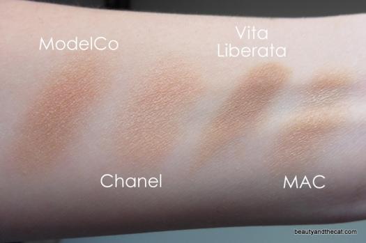08 Vita Liberata Trystal Bronzing Minerals Swatch Comparison
