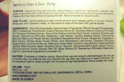 Banila Co Clean It Zero Purity Ingredients