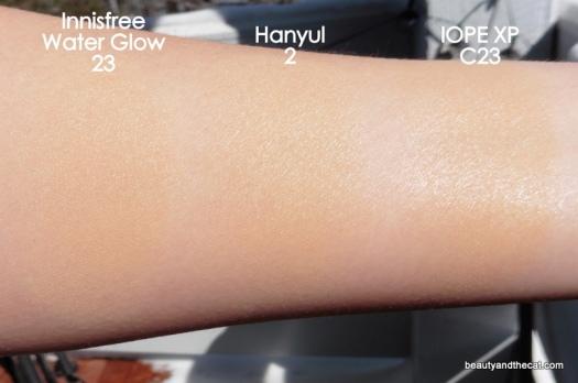 02 Innisfree Water Glow Hanyul Cushion IOPE XP Cushion Comparison Swatches