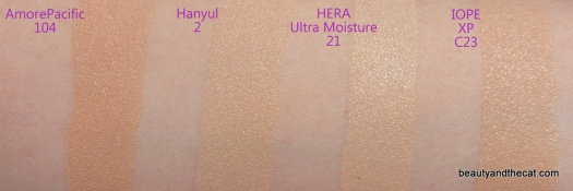 04 AmorePacific Hanyul HERA Ultra Moisture IOPE XP Cushion Swatches Review