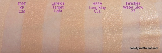 05 IOPE XP Laneige HERA Long Stay Innisfree Water Glow Cushion Swatches Review