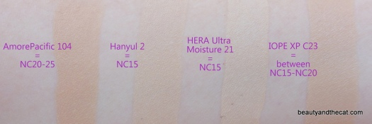 08 AmorePacific Hanyul HERA IOPE Cushion Comparison