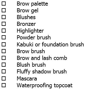 Packing list-makeup