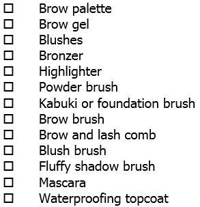 Packing list-makeup