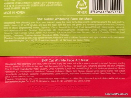 SNP Rabbit Whitening Cat Wrinkle Face Art Mask Ingredients