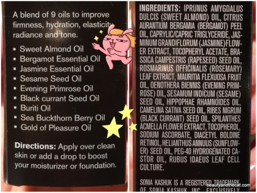 02 Sonia Kashuk Radiant Boost Restorative Facial Oil Ingredients