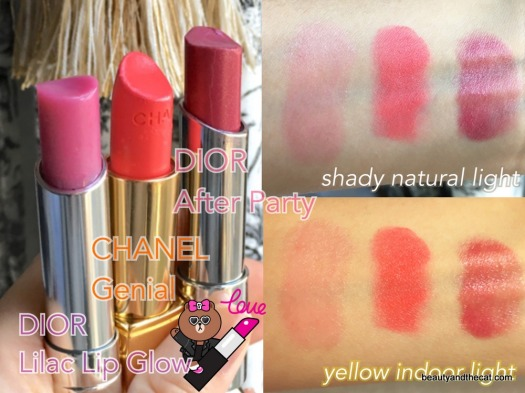 08 Swatch Dior Lip Glow Lilac Chanel Genial Dior After Party