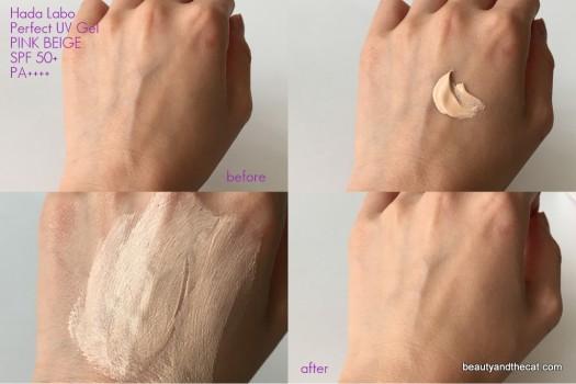 08b Hada Labo Perfect UV Gel Pink Beige Swatch